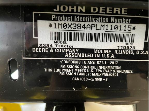 Pre-Owned John Deere X384 48A in Orlando, FL Photo 5