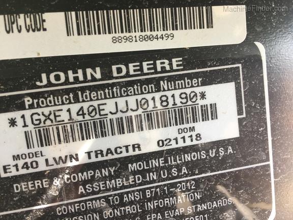 Photo of 2018 John Deere E140