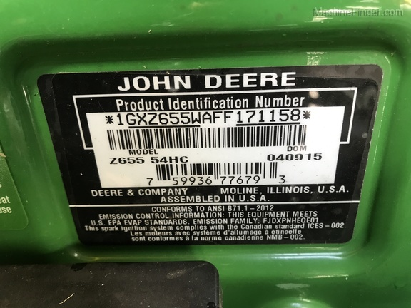 Photo of 2015 John Deere Z655