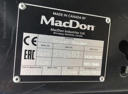 Photo of 2017 MacDon FD75-45
